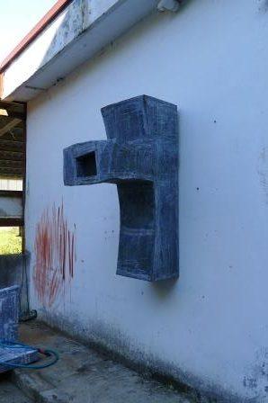 Wandsculptuur Iñaki Olazabal. Zink