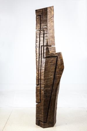 Sculptuur massief hout. Beeldhouwer Lesagibel.